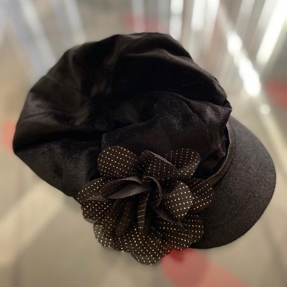 Vintage Black Velvet Flower Cabbie Hat